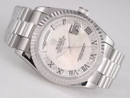 Fake Great Day -Date Rolex Movimiento Con MOP Dial - romana Marca Relojes AAA [ Q3X5 ]