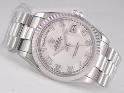 Fake Great Day -Date Rolex Movimiento con Silver Dial - Número Marcado Relojes AAA [ S7J4 ]