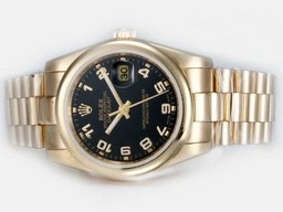 Fake Rolex Datejust Automático Modern completo de oro con Negro Dial Relojes AAA [ J1K5 ]