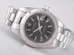 Fake Rolex Datejust Movimiento Moderno con Negro Dial - Stick Marcado AAA relojes [ X6L6 ]