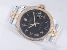 Fake Modern Rolex Datejust Movement Two Tone med Black Dial AAA Klokker [ O7K2 ]