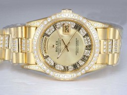 Falso Modern Rolex Day-Date Automatic Ouro completa com Diamond Bezel e Dial AAA Relógios [ B9Q4 ]