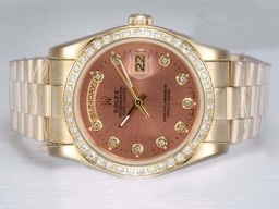 Fake Perfect Rolex Day-Date Automatic Full Gold med Diamond Bezel og merking AAA Klokker [ V1E9 ]