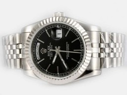 Fake Perfect Rolex Day-Date Automatic med Black Dial - Stick Merking AAA Klokker [ S7F6 ]
