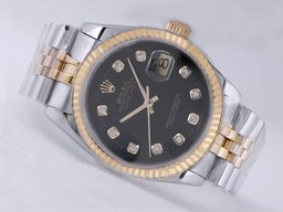 Fake Populære Rolex Datejust Movement To Tone med Black Dial AAA Klokker [ A9R1 ]