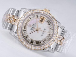 Faux Populaire Day- Date Rolex Mouvement Two Tone Diamond Bezel AAA Montres [ S4P7 ]