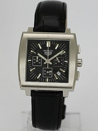 Fake Cool Tag Heuer Monaco Working Chronograph with Black Dial AAA Watches [O9X8]