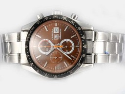 Fake Fancy Tag Heuer Carrera Working Chronograph med Brown Dial AAA Klokker [ T3U3 ]