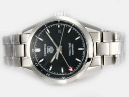 Fake Gorgeous Tag Heuer Carrera Twin-Time Working GMT with Black Dial-Same Chassis As Movement AAA Watches [V2S2]
