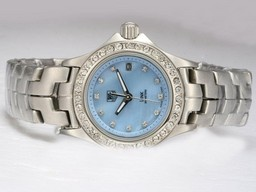 Fake Gorgeous Tag Heuer Link 200 Meters Diamond Bezel and Marking with Blue Dial AAA Watches [G3T3]