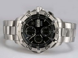 Fake Gran Tag Heuer Aquaracer Chrono Day-Date con Dial Negro mismo Chasis Como movimiento AAA relojes [ C5U8 ]
