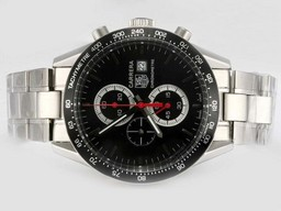 Fake Great Tag Heuer Carrera Working Chronograph with Black Dial and Bezel AAA Watches [R1U5]