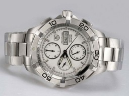 Fake Popular Tag Heuer Aquaracer Chrono Day-Date with White Dial Same Chassis As Movement AAA Watches [P2Q2]