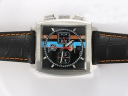 Fake Popular Tag Heuer Monaco Chronograph Automatic with Black Dial and Strap AAA Watches [T8D4]