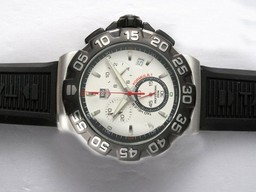 Fake Quintessential Tag Heuer Formula 1 Working Chronograph White Dial with Black Bezel AAA Watches [U2W3]