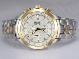 Fake Quintessential Tag Heuer Link 200 Meters Working Chronograph AR Coating-Two Tone AAA Watches [P7L3]