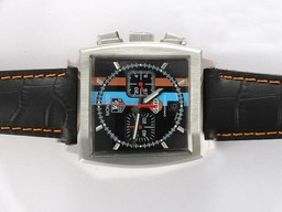 Fake Quintessential Tag Heuer Monaco Working Chronograph with Black Dial AAA Watches [G1G1]