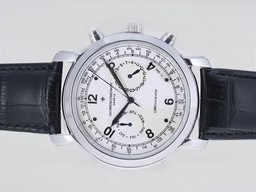 Fake Cool Vacheron Constantin Malte Chronograph Automatic with White Dial AAA Watches [C4W4]