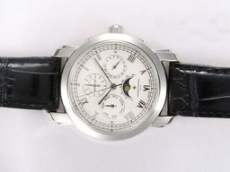 Fake Cool Vacheron Constantin Patrimony Perpetual Moonphase with White Dial AAA Watches [I4T9]