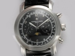 Fake Fancy Vacheron Constantin Classic Chronograph Automatic with Black Dial AAA Watches [A7H4]