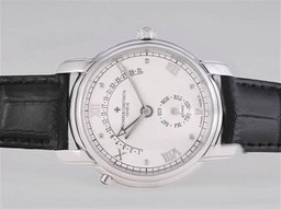 Fake Fancy Vacheron Constantin Patrimony Day-Date Flyback With White Dial AAA Watches [O1A8]