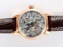 Fake Gorgeous Vacheron Constantin Skeleton Automatic Gold Casing AAA Watches [C9M9]