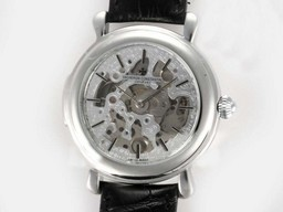 Fake Gorgeous Vacheron Constantin Skeleton Automatic Silver Casing AAA Watches [V6K6]
