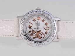 Fake Vintage Zenith Star Open Sea Automatic Diamond Bezel with White Dial-Lady Size AAA Watches [S5J3]