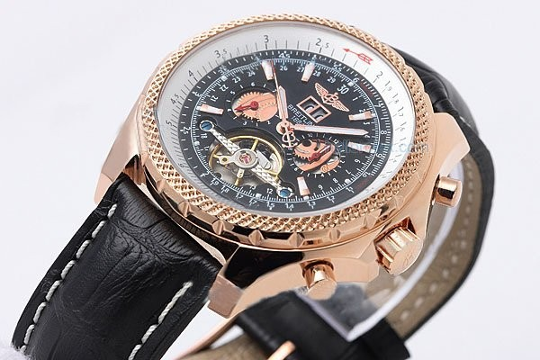 Fake Fancy Breitling Bentley Tourbillon Automatic with Black Dial and Gold AAA Watches [E9Q5]