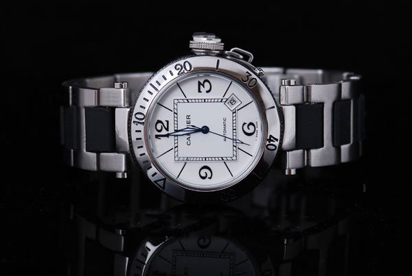Fake Cool Cartier Pasha Seatimer Automatic with White Dial AAA Watches [S4Q4]