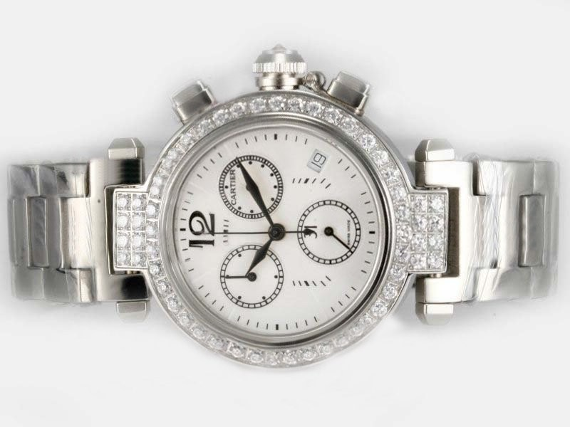 Fake Cool Cartier Pasha Working Chronograph Diamond Bezel with White Dial AAA Watches [M1U2]