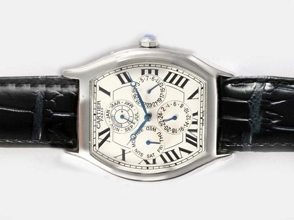 Fake Cool Cartier Tortue Quantieme Perpetual Automatic with White Dial AAA Watches [R4S9]