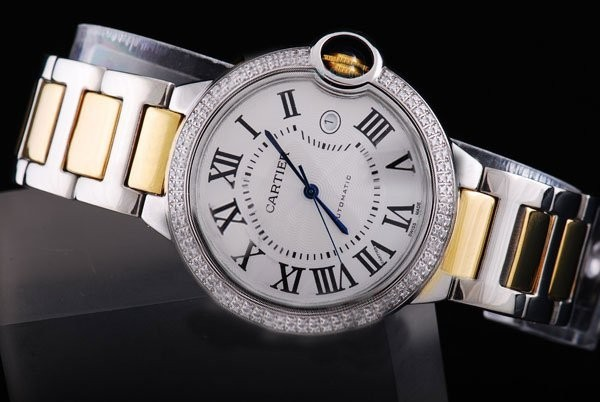 Fake Gorgeous Cartier Ballon Bleu de Cartier con Doble Diamante Del Bisel -Medium AAA relojes [ O9E4 ]
