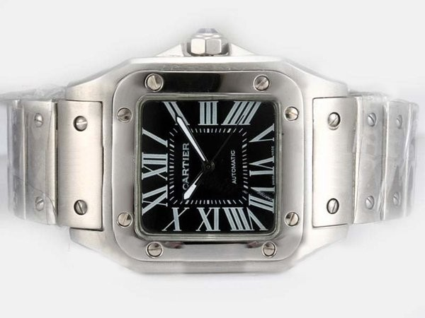 Fake Gorgeous Cartier Santos 100 Automatic with Black Dial-38MM AAA Watches [Q3C6]