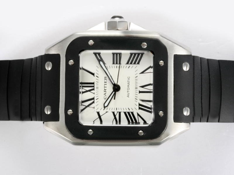Fake Great Cartier Santos 100 Automatic with Black Bezel and Rubber Strap Strap AAA Watches [E8C9]
