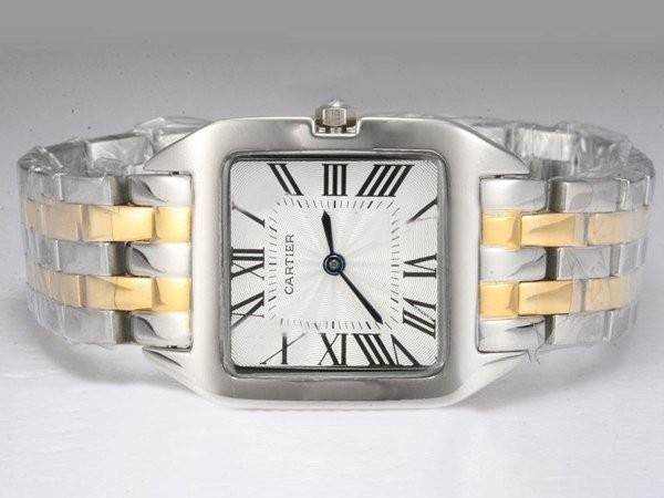 Fake Great Cartier Santos 100 Two Tone with White Dial Lady Size AAA Watches [I9G8]