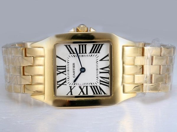 Fake Popular Cartier Montre Santos Demoiselle Man Size Full Gold with White Dial AAA Watches [V1B8]