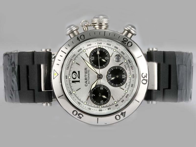 Fake Quintessential Cartier Pasha Chronograph Automatic Silver Dial with Rubber Strap AAA Watches [R1S5]