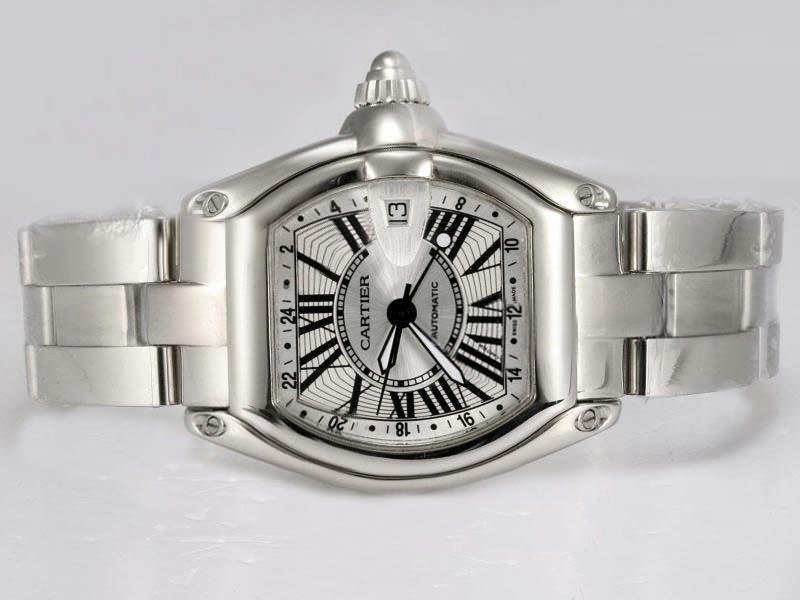 Fake Quintessential Cartier Roadster Movement GMT Working with White Dial AAA Watches [B8M8]