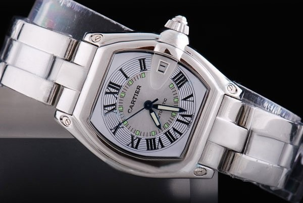 Fake Quintessential Cartier Roadster Working Chronograph with White Dial AAA Watches [H7H5]