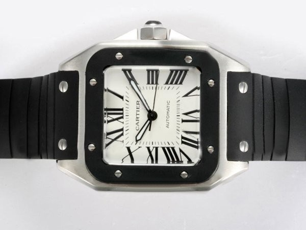 Fake Quintessential Cartier Santos 100 Automatic with Black Bezel and Rubber Strap AAA Watches [W7K7]