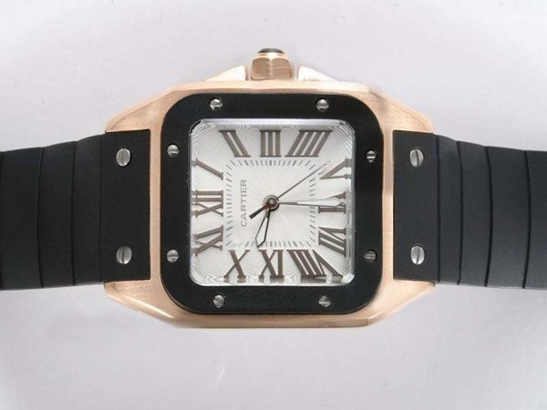 Fake Quintessential Cartier Santos 100 Gold Case with White Dial-Rubber Strap Lady Size AAA Watches [B8I9]