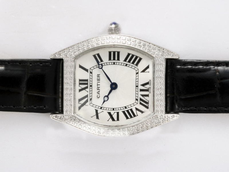 Fake Quintessential Cartier Tortue Diamond Bezel with White Dial AAA Watches [U2J1]