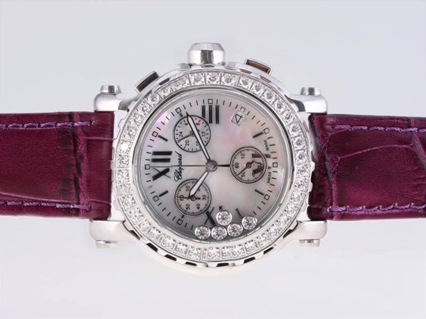 Fake Cool Chopard Happy Sport Working Chronograph Diamond Bezel with MOP Dial AAA Watches [T1R9]