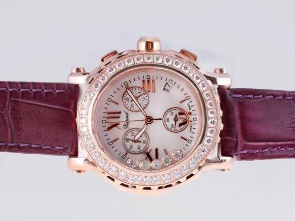 Fake Fancy Chopard Happy Sport Working Chronograph Rose Gold Case Diamond Bezel AAA Watches [H1P4]