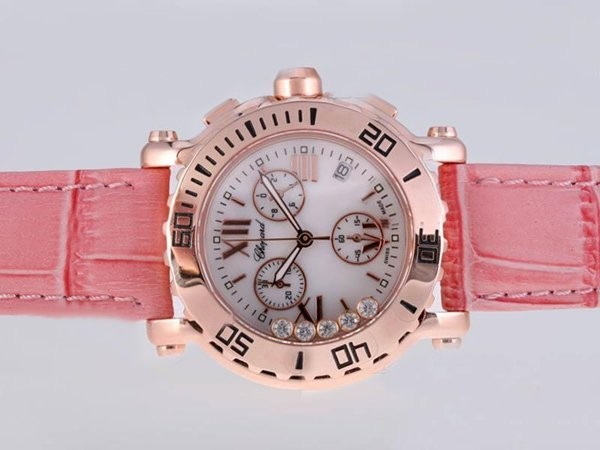 Fake Fancy Chopard Happy Sport Working Chronograph Rose Gold Case AAA Watches [E5G2]