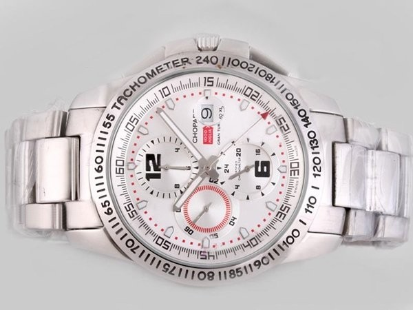 Fake Gorgeous Chopard Gran Turismo GT XL Chronograph Automatic with White Dial AAA Watches [T2R7]