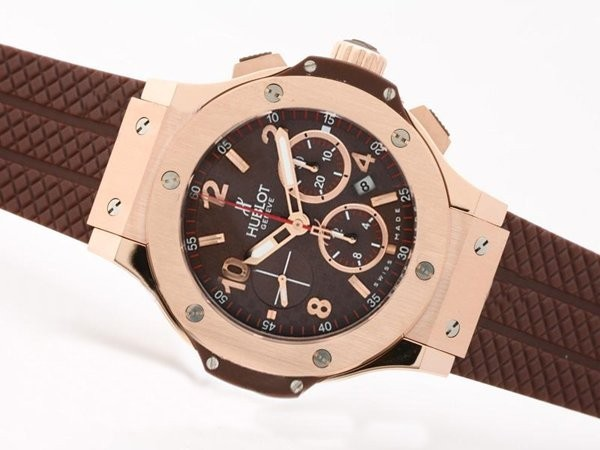Fake Perfect Hublot Big Bang Chronograph Asia Valjoux 7750 Movement Rose Gold AAA Watches [H2F2]