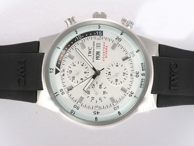 Fake Cool IWC Aquatimer Chrono Cousteau Divers Automatic White Dial AAA Watches [H3X9]