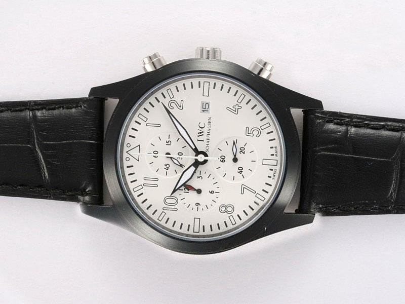 Fake Cool IWC Saint Exupery Working Chronograph PVD Casing with White Dial AAA Watches [O6Q6]